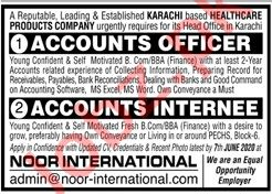 Noor International Karachi Jobs 2020 for Accounts Officer