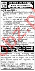 BP Biscuits & Chocolates Karachi Jobs 2020 for Brand Manager