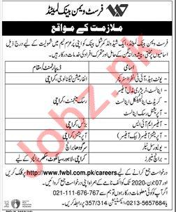 FWBL Bank Karachi Jobs 2020 for Unit Head & Officer MIS