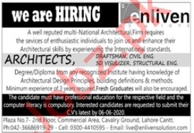 Enliven Solutions Lahore Jobs 2020 for Architects & Engineer