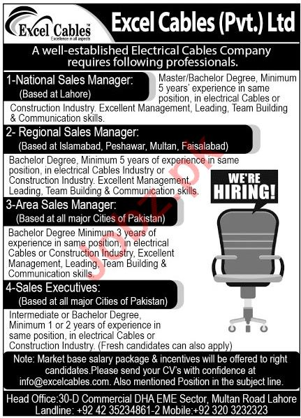 Excel Cables Lahore Jobs 2020 for Sales Managers