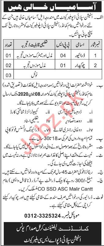 Pak Army Station Supply Depot Malir Cantt Karachi Jobs 2020