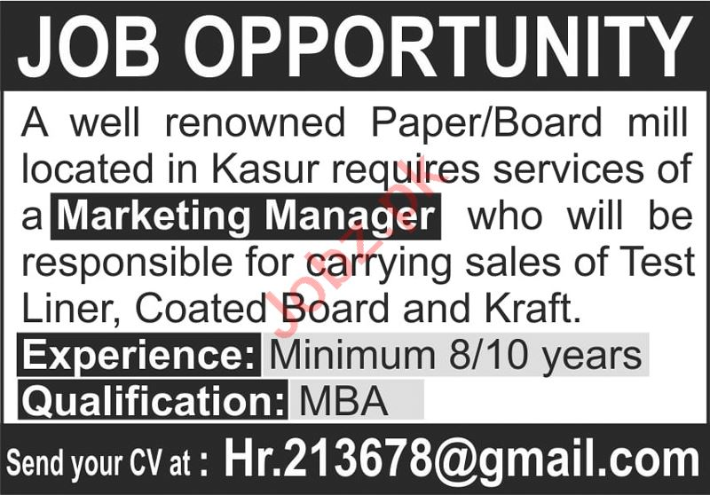 Marketing Manager Jobs 2020 in Paper Mill Kasur