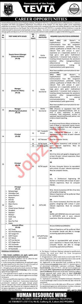 TEVTA Punjab Jobs 2020 for Deputy Manager & Accounts Officer