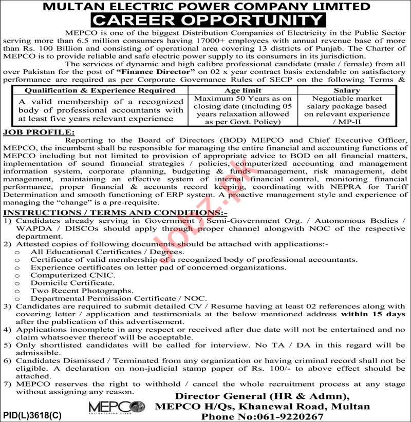 Multan Electric Power Company MEPCO Jobs 2020 for Director