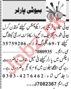 Jang Sunday Classified Ads 31st May 2020 for Beauty Parlour