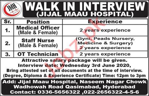 Jijal Maau Hospital Jobs Interview 2020 for Medical Officers