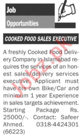 Cooked Food Sales Executive Jobs 2020 in Islamabad