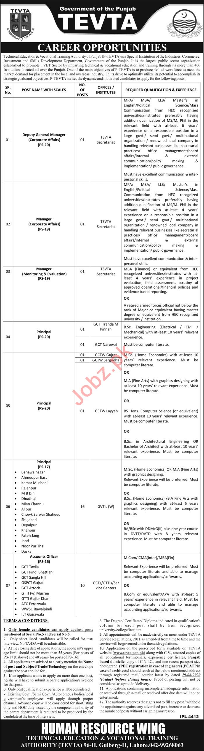 TEVTA Punjab Jobs 2020 for Principal & Accounts Officer