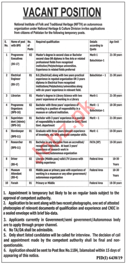 National Institute of Folk & Traditional Heritage NIFTH Jobs