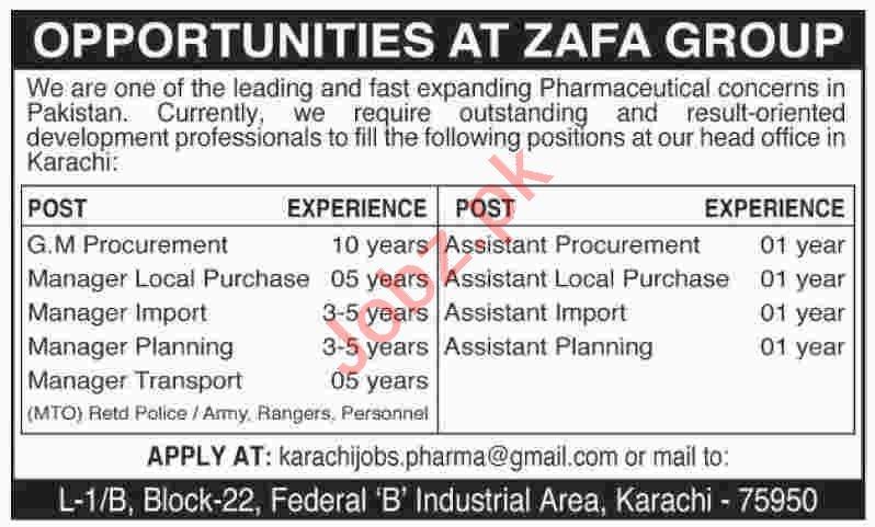 GM Procurement & Manager Transport Jobs 2020 in Karachi
