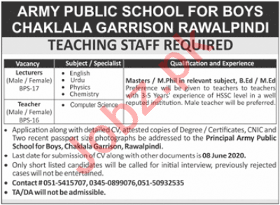Army Public School APS for Boys Chaklala Garrison Jobs 2020