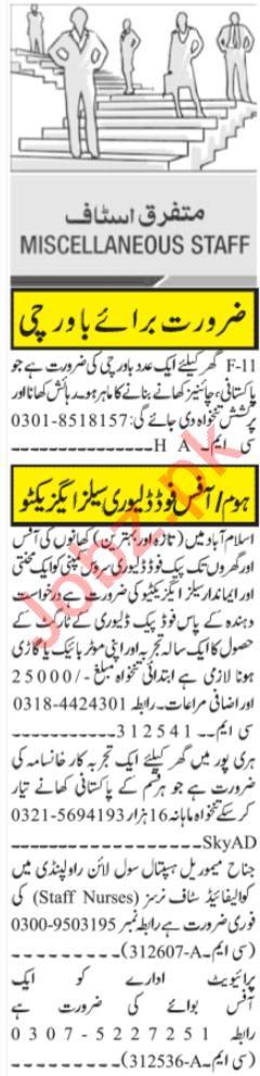 Sales Executive & Staff Nurses Jobs 2020 in Islamabad