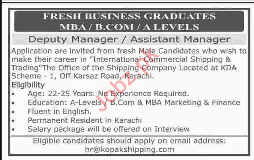 Deputy Manager & Assistant Manager Jobs 2020 in Karachi