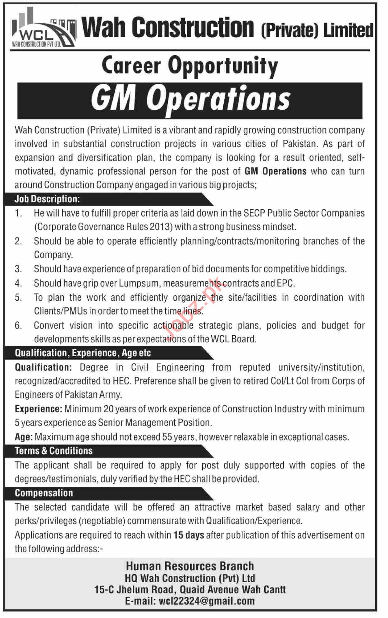 Wah Construction Limited WCL Jobs 2020 for GM Operations