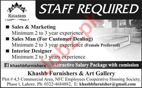 Salesman & Interior Designer Jobs 2020 in Lahore