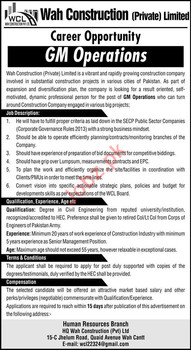 Wah Construction Limited WCL Jobs General Manager Operations