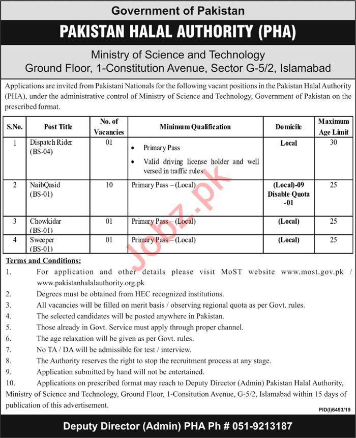 Pakistan Halal Authority PHA Islamabad Jobs 2020