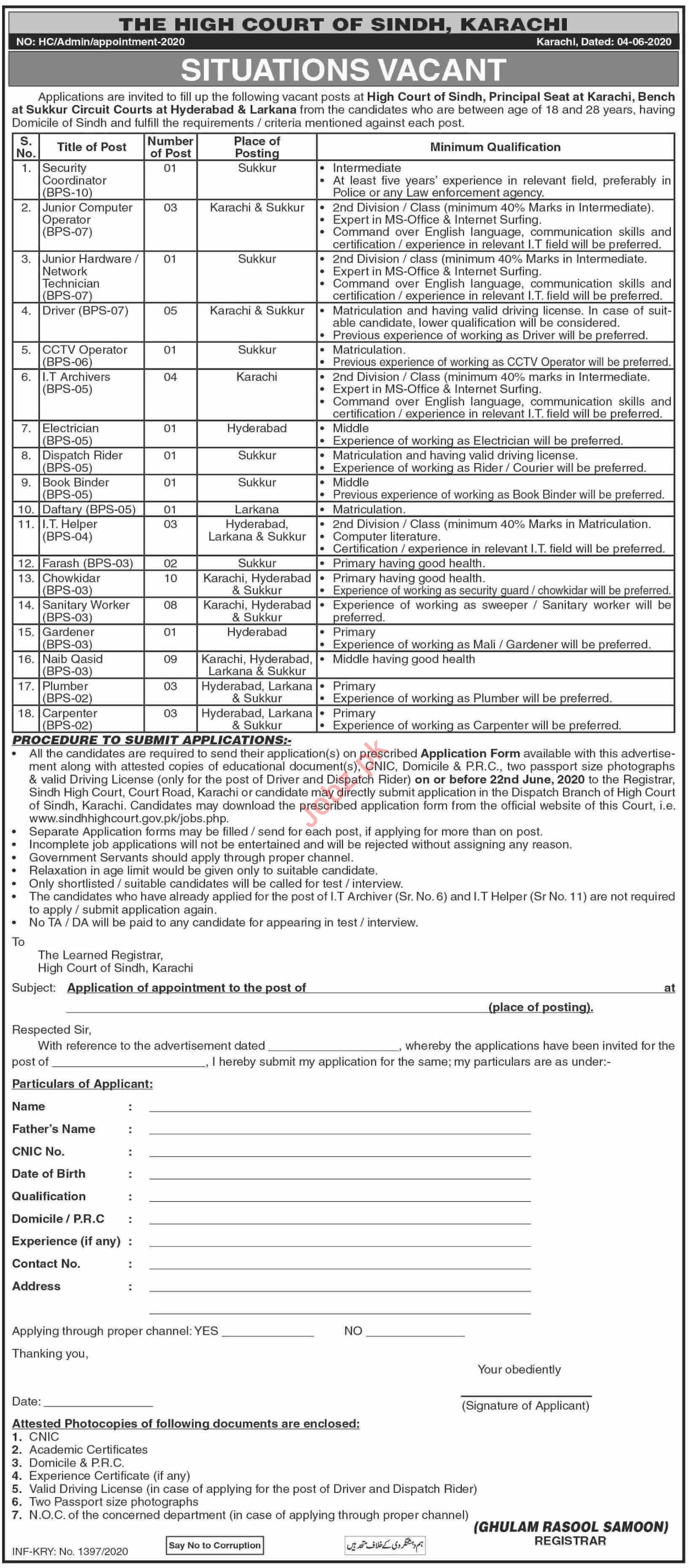 The High Court of Sindh Karachi Jobs for Driver & Naib Qasid