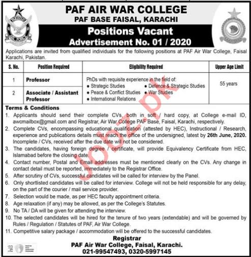 Professors Jobs 2020 in PAF Air War College Karachi