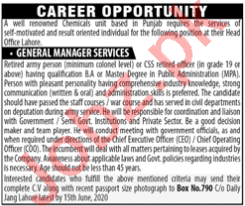 General Manager Services Jobs 2020 in Lahore