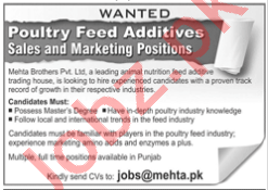 Mehta Brothers Lahore Jobs 2020 for Marketing & Sales Staff