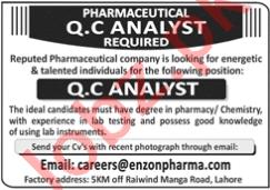 Enzon Pharmaceuticals Lahore Jobs 2020 for QC Analyst