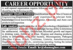 Lab Analyst & Manager Quality Control Jobs 2020 in Lahore