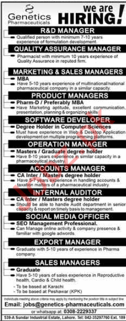 Genetics Pharmaceuticals Lahore Jobs 2020 for Managers