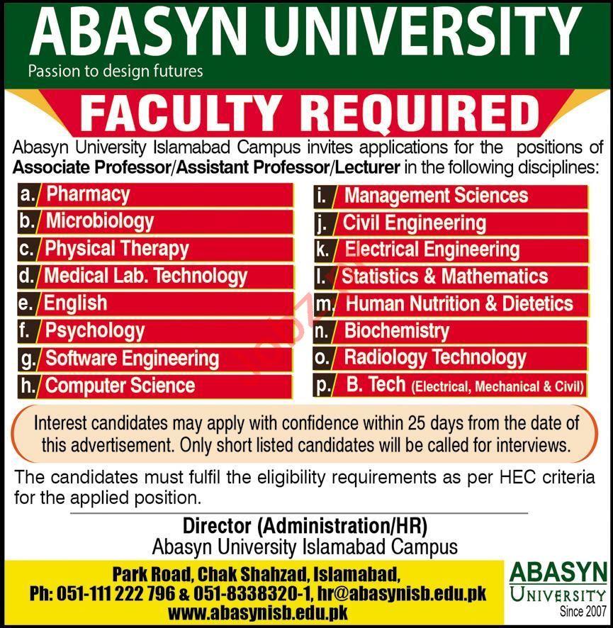 ABASYN University Islamabad Jobs 2020 for Professors