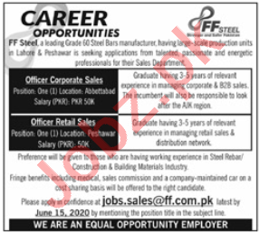 FF Steel Jobs 2020 for Officer Corporate Sales Officer