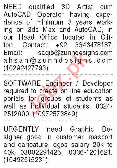 Dawn Sunday Classified Ads 7th June 2020 for IT Staff
