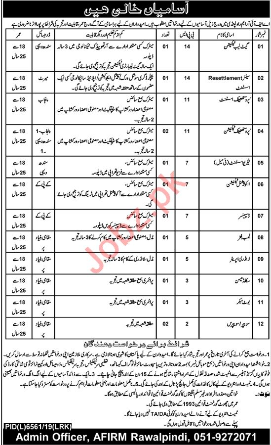 Pakistan Army Armed Forces Institute AFIRM Jobs 2020