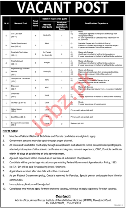 Pakistan Army AFIRM Rawalpindi jobs 2020 for Technicians