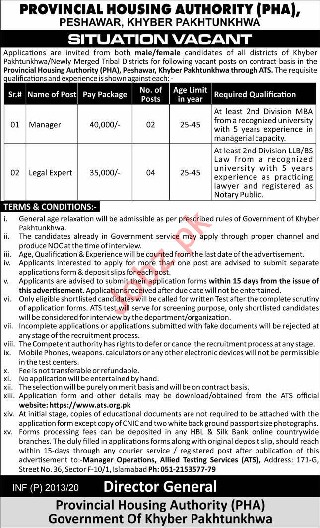 Provincial Housing Authority Peshawar Jobs 2020 for Manager