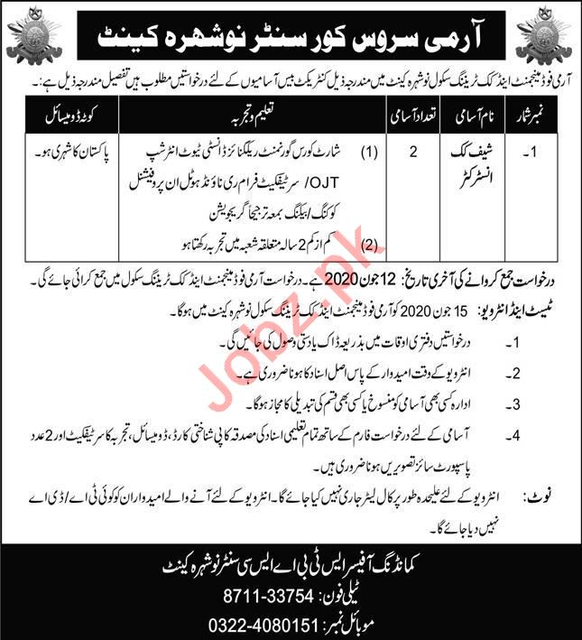 Army Service Corps Centre Nowshera Cantt Jobs 2020