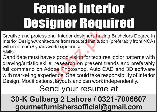 Gourmet Furnishers Jobs 2020 for Interior Designer