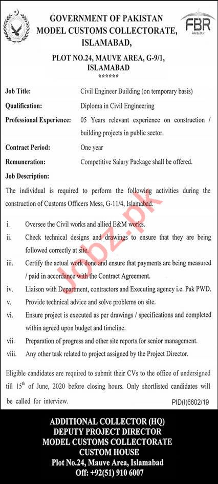 Model Customs Collectorate MCC Islamabad Jobs for Engineer