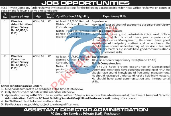 FCSS Peshawar Jobs 2020 for Director Administration