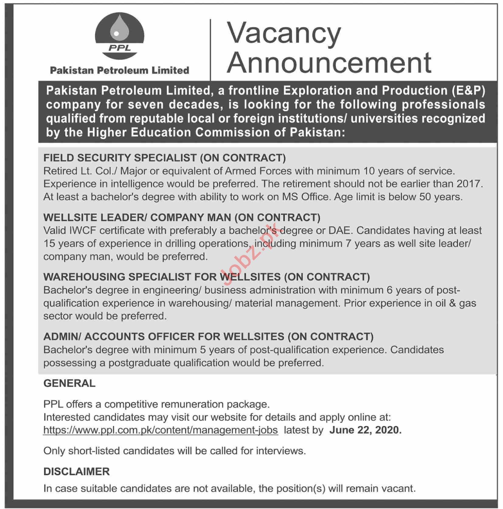 Pakistan Petroleum Limited PPL Jobs 2020 Security Specialist