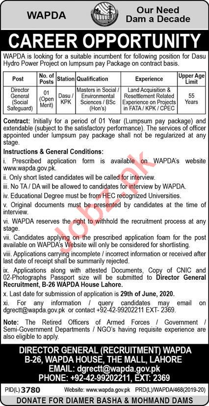 Dasu Hydro Power Project Jobs 2020 for Director General
