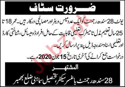 28 Sindh Regiment Bhaskar Tehsil Samahni Jobs 2020