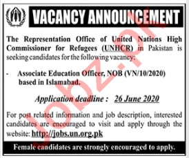 UNHCR Islamabad Jobs 2020 for Associate Education Officer