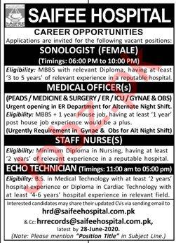 Saifee Hospital Karachi Jobs 2020 for Sonologist & Doctor