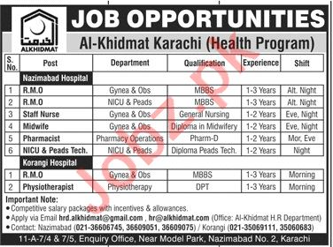 Al Khidmat Foundation Karachi Jobs 2020 for Medical Officers