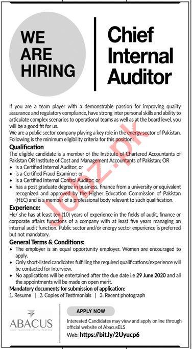 Chief Internal Auditor Jobs 2020 in Abacus Global Karachi
