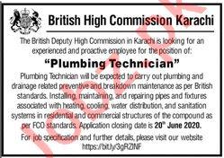 British High Commission Karachi Jobs for Plumbing Technician