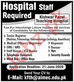 Kishwar Fazal Teaching Hospital KFTH Lahore Jobs 2020