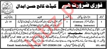 Cadet College Hasan Abdal Jobs 2020 for Riding Instructor