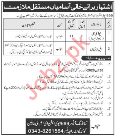 699 Aviation EME Battalion Quetta Jobs 2020 for Clerks